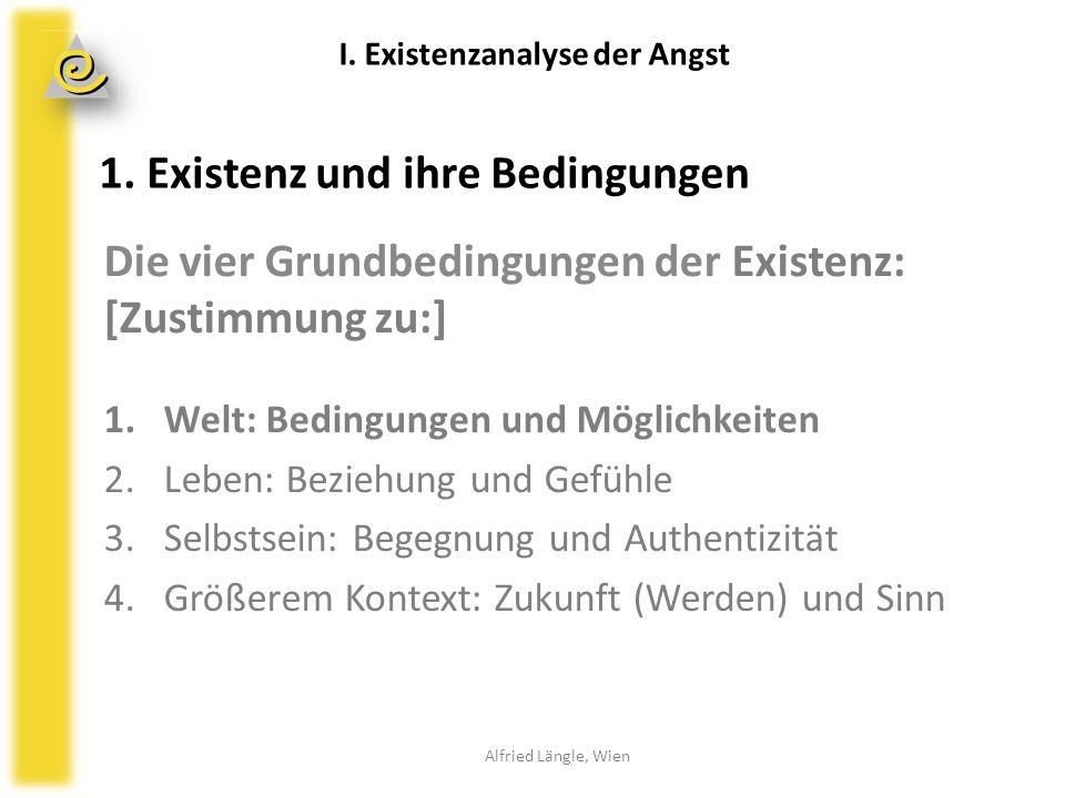 1. Existenz und ihre Bedingungen Die vier Grundbedingungen der Existenz: [Zustimmung zu:] 1.Welt: Bedingungen und Möglichkeiten 2.Leben: Beziehung und