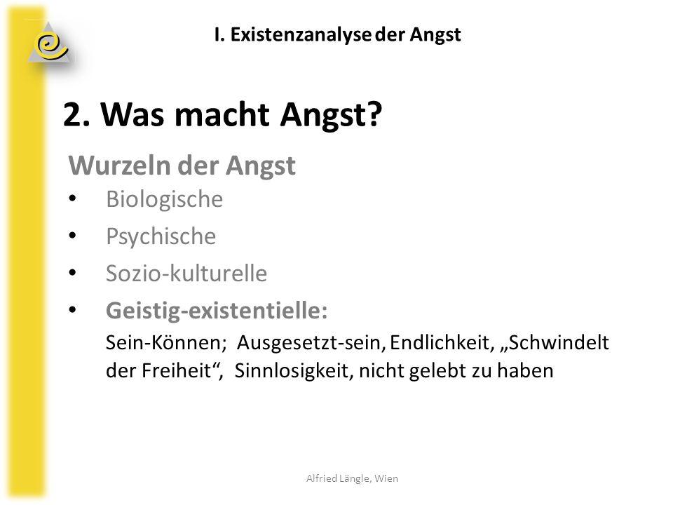 """2. Was macht Angst? Wurzeln der Angst Biologische Psychische Sozio-kulturelle Geistig-existentielle: Sein-Können; Ausgesetzt-sein, Endlichkeit, """"Schwi"""