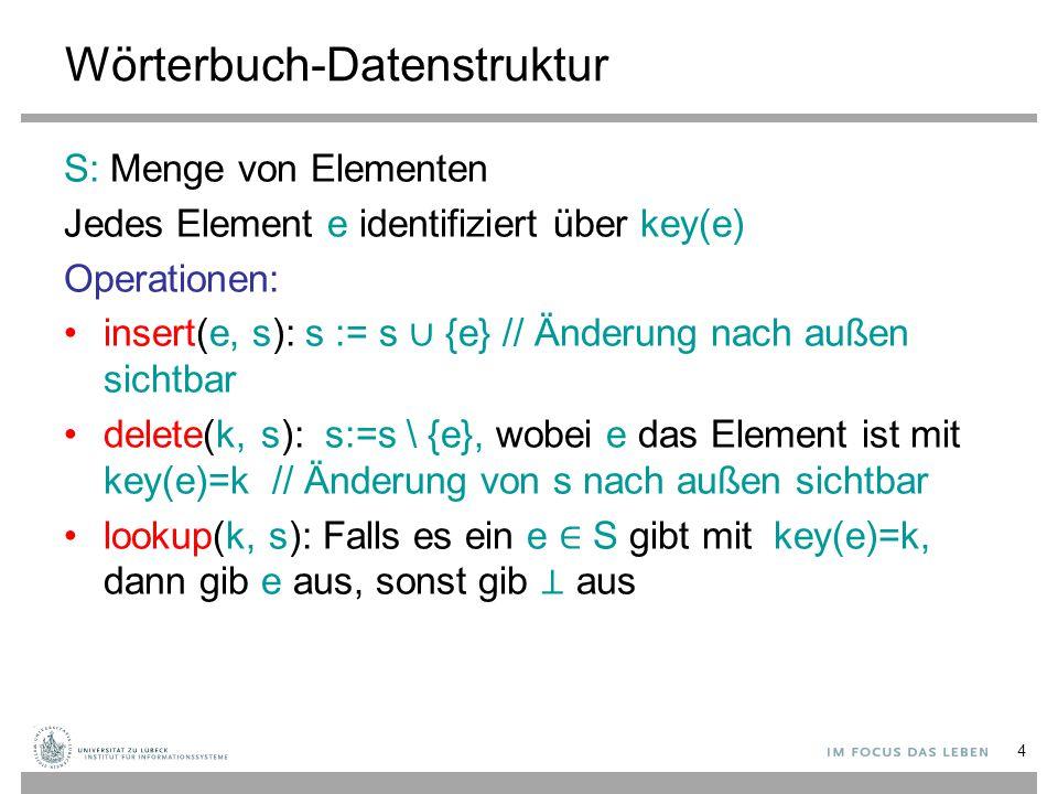 4 Wörterbuch-Datenstruktur S: Menge von Elementen Jedes Element e identifiziert über key(e) Operationen: insert(e, s): s := s ∪ {e} // Änderung nach a