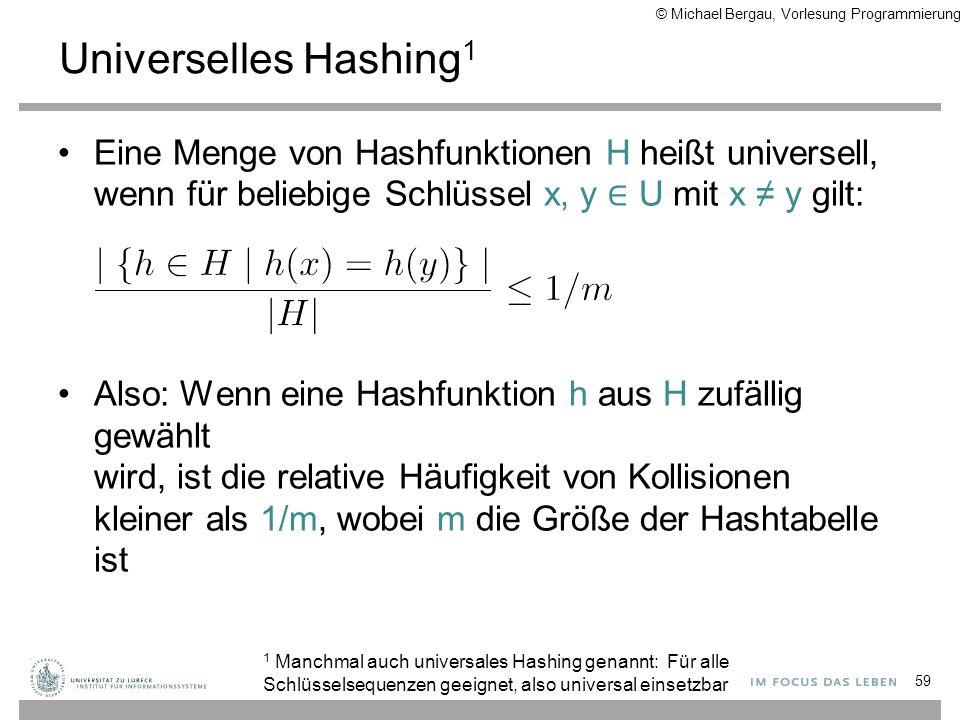 Universelles Hashing 1 Eine Menge von Hashfunktionen H heißt universell, wenn für beliebige Schlüssel x, y ∈ U mit x ≠ y gilt: Also: Wenn eine Hashfun
