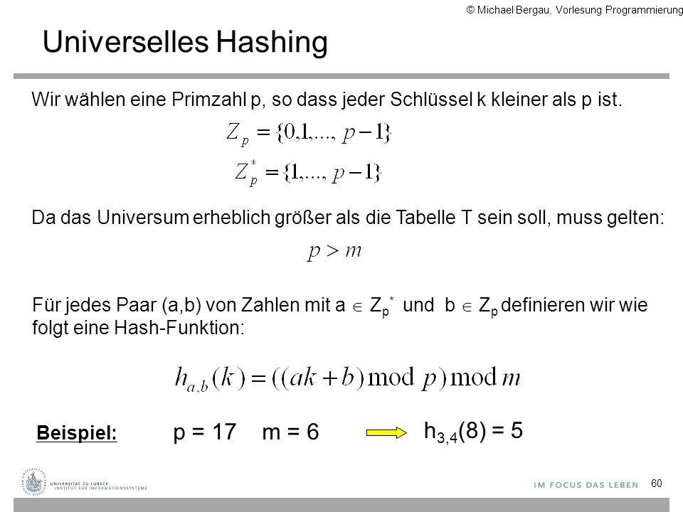 Universelles Hashing 60 Wir wählen eine Primzahl p, so dass jeder Schlüssel k kleiner als p ist. Da das Universum erheblich größer als die Tabelle T s