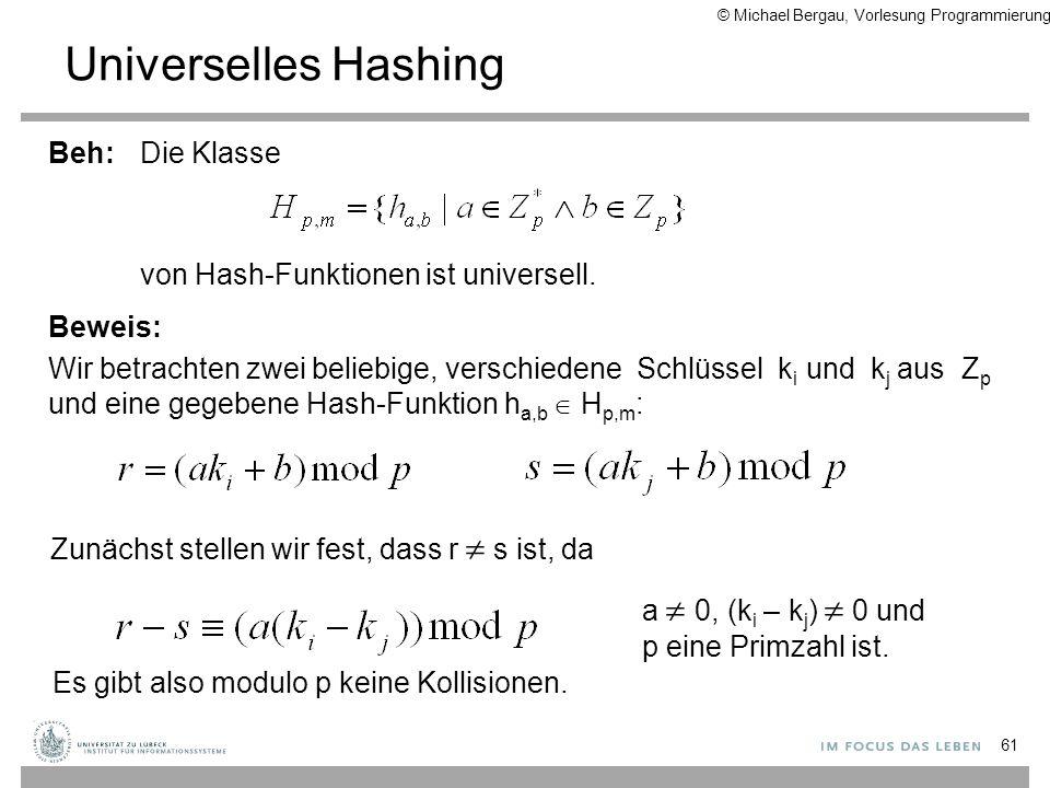 61 Die Klasse von Hash-Funktionen ist universell. Beweis: Wir betrachten zwei beliebige, verschiedene Schlüssel k i und k j aus Z p und eine gegebene