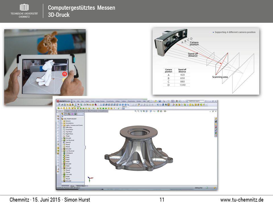 Computergestütztes Messen 3D-Druck www.tu-chemnitz.de 11 Chemnitz ∙ 15. Juni 2015 ∙ Simon Hurst