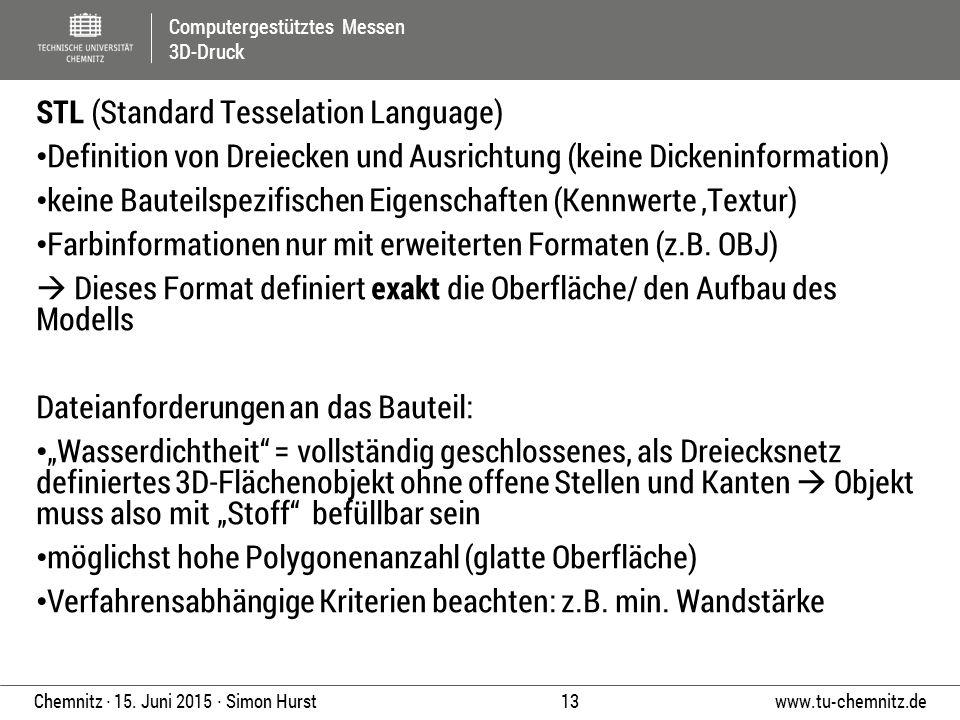 Computergestütztes Messen 3D-Druck www.tu-chemnitz.de 13 Chemnitz ∙ 15. Juni 2015 ∙ Simon Hurst STL (Standard Tesselation Language) Definition von Dre