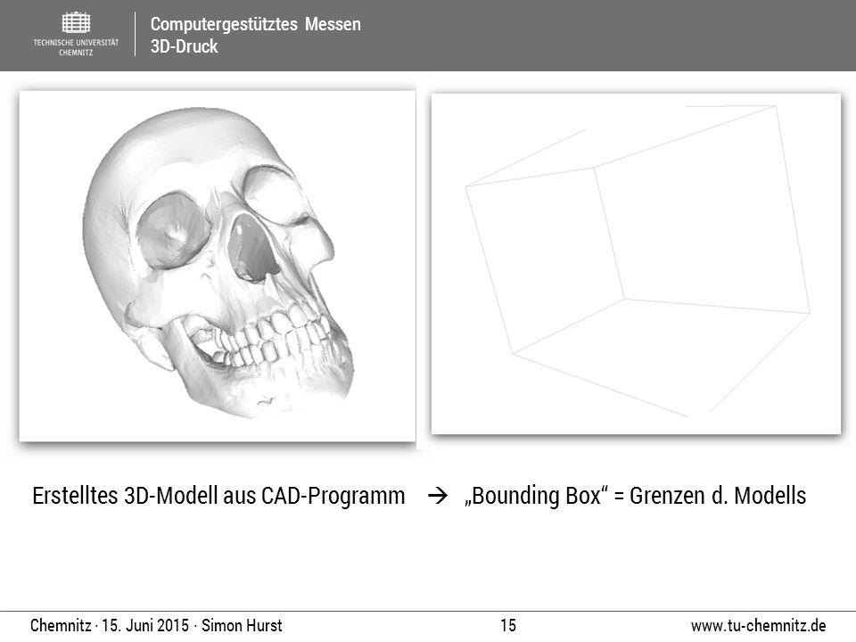 """Computergestütztes Messen 3D-Druck www.tu-chemnitz.de 15 Chemnitz ∙ 15. Juni 2015 ∙ Simon Hurst Erstelltes 3D-Modell aus CAD-Programm  """"Bounding Box"""""""