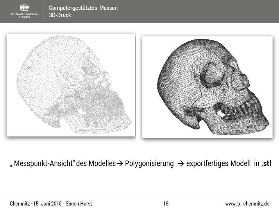"""Computergestütztes Messen 3D-Druck www.tu-chemnitz.de 16 Chemnitz ∙ 15. Juni 2015 ∙ Simon Hurst """" Messpunkt-Ansicht"""" des Modelles  Polygonisierung """