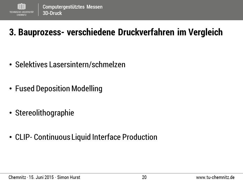 Computergestütztes Messen 3D-Druck www.tu-chemnitz.de 20 Chemnitz ∙ 15. Juni 2015 ∙ Simon Hurst Selektives Lasersintern/schmelzen Fused Deposition Mod