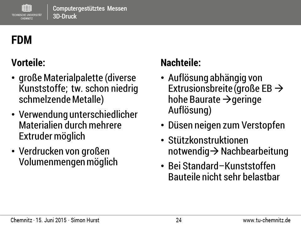 Computergestütztes Messen 3D-Druck www.tu-chemnitz.de 24 Chemnitz ∙ 15. Juni 2015 ∙ Simon Hurst Vorteile: große Materialpalette (diverse Kunststoffe;