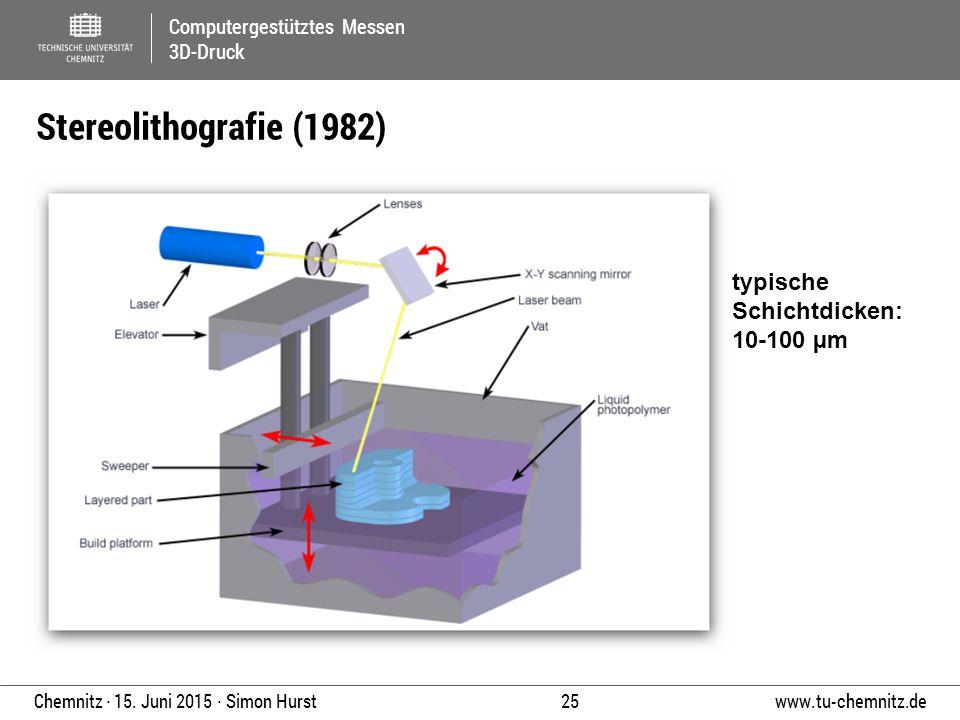 Computergestütztes Messen 3D-Druck www.tu-chemnitz.de 25 Chemnitz ∙ 15. Juni 2015 ∙ Simon Hurst Stereolithografie (1982) typische Schichtdicken: 10-10