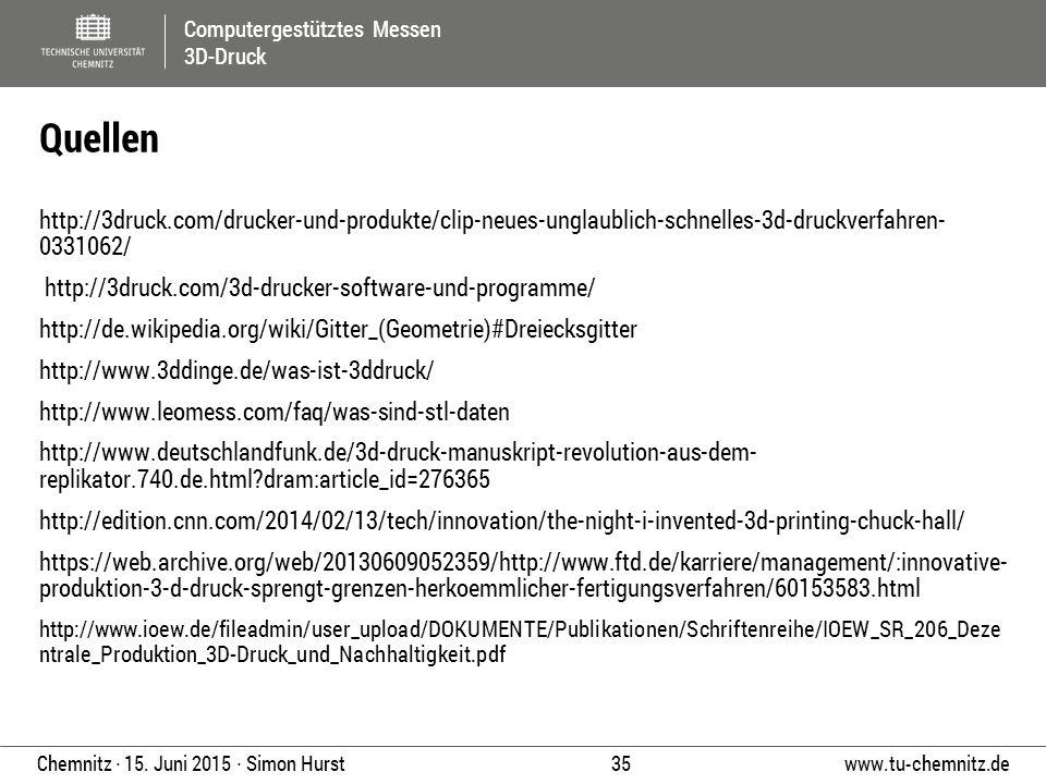 Computergestütztes Messen 3D-Druck www.tu-chemnitz.de 35 Chemnitz ∙ 15. Juni 2015 ∙ Simon Hurst http://3druck.com/drucker-und-produkte/clip-neues-ungl