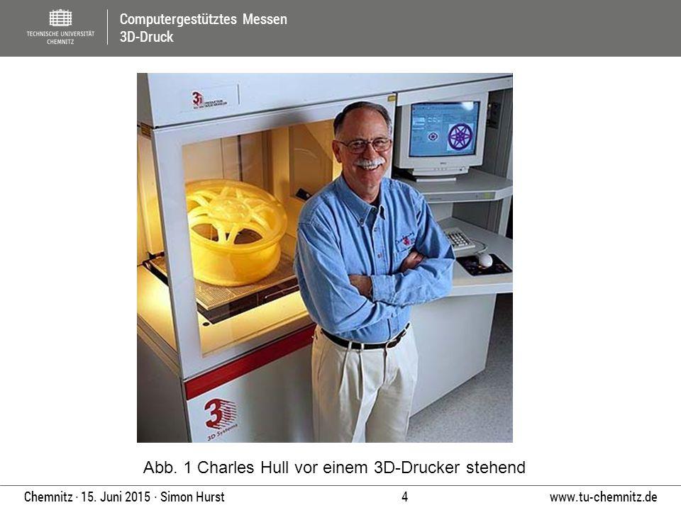 Computergestütztes Messen 3D-Druck www.tu-chemnitz.de 4 Chemnitz ∙ 15. Juni 2015 ∙ Simon Hurst Abb. 1 Charles Hull vor einem 3D-Drucker stehend