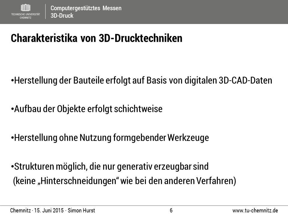 Computergestütztes Messen 3D-Druck www.tu-chemnitz.de 6 Chemnitz ∙ 15. Juni 2015 ∙ Simon Hurst Herstellung der Bauteile erfolgt auf Basis von digitale