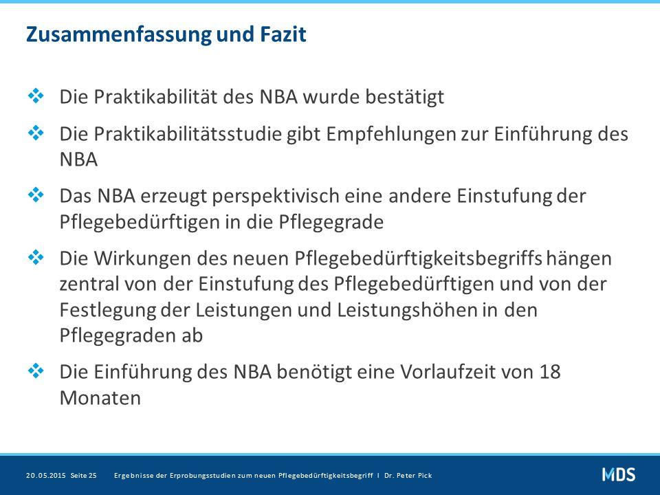 Zusammenfassung und Fazit  Die Praktikabilität des NBA wurde bestätigt  Die Praktikabilitätsstudie gibt Empfehlungen zur Einführung des NBA  Das NB