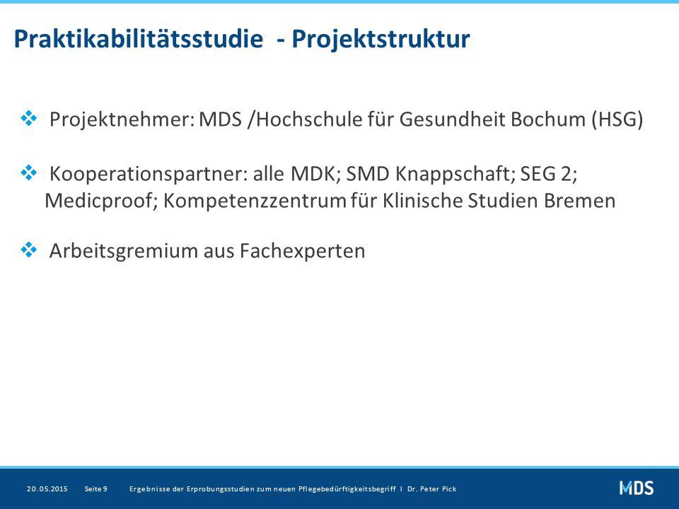 Praktikabilitätsstudie - Projektstruktur  Projektnehmer: MDS /Hochschule für Gesundheit Bochum (HSG)  Kooperationspartner: alle MDK; SMD Knappschaft