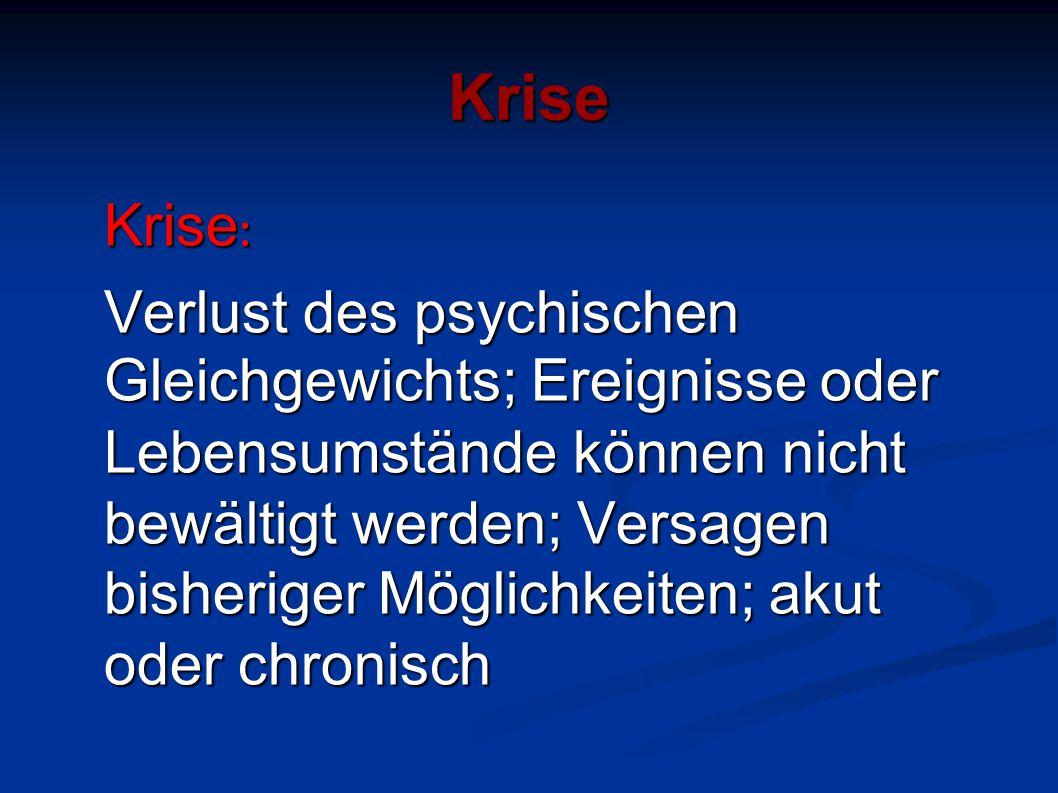 Krise Krise : Verlust des psychischen Gleichgewichts; Ereignisse oder Lebensumstände können nicht bewältigt werden; Versagen bisheriger Möglichkeiten;