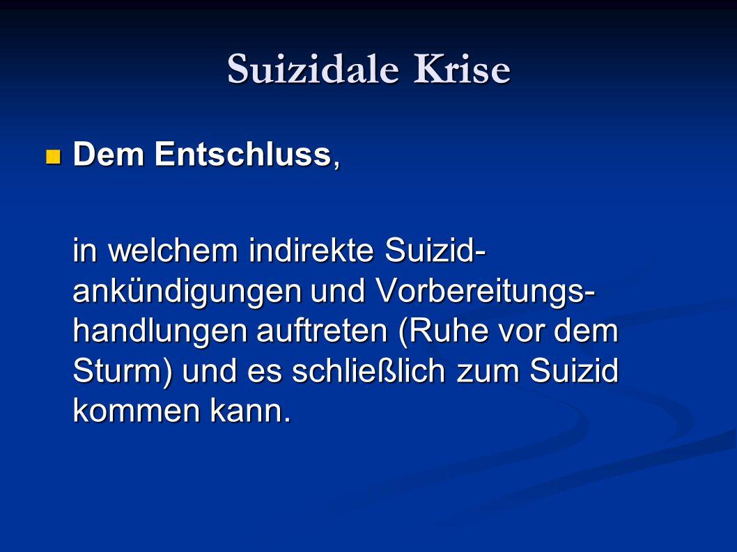 Suizidale Krise Dem Entschluss, Dem Entschluss, in welchem indirekte Suizid- ankündigungen und Vorbereitungs- handlungen auftreten (Ruhe vor dem Sturm