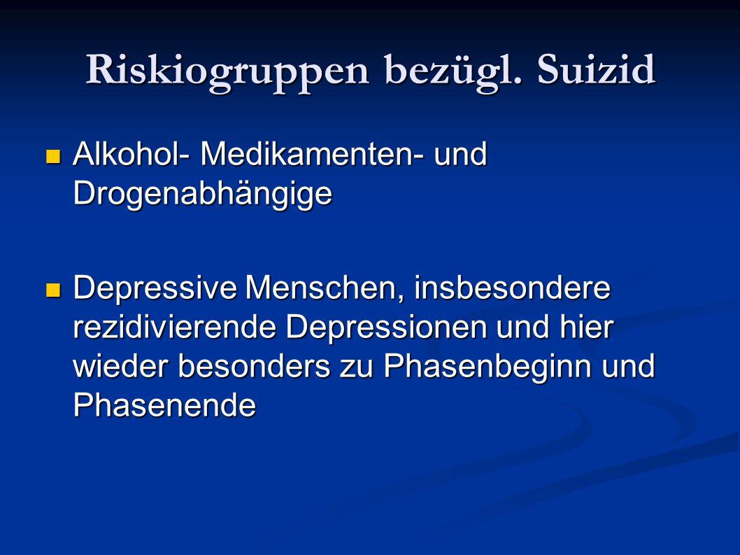 Riskiogruppen bezügl. Suizid Alkohol- Medikamenten- und Drogenabhängige Alkohol- Medikamenten- und Drogenabhängige Depressive Menschen, insbesondere r