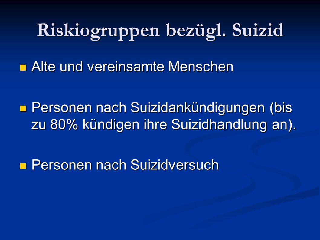 Riskiogruppen bezügl. Suizid Alte und vereinsamte Menschen Alte und vereinsamte Menschen Personen nach Suizidankündigungen (bis zu 80% kündigen ihre S