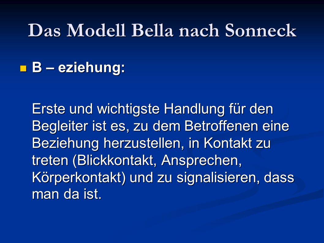Das Modell Bella nach Sonneck B – eziehung: B – eziehung: Erste und wichtigste Handlung für den Begleiter ist es, zu dem Betroffenen eine Beziehung he