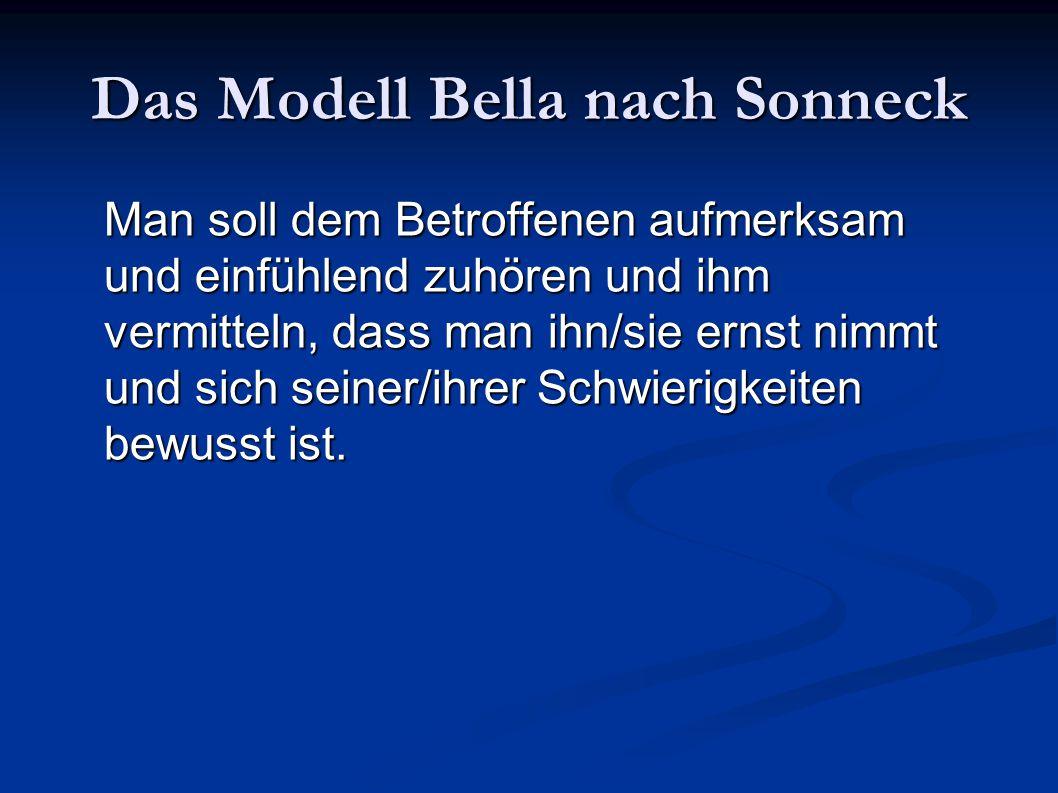 Das Modell Bella nach Sonneck Man soll dem Betroffenen aufmerksam und einfühlend zuhören und ihm vermitteln, dass man ihn/sie ernst nimmt und sich sei