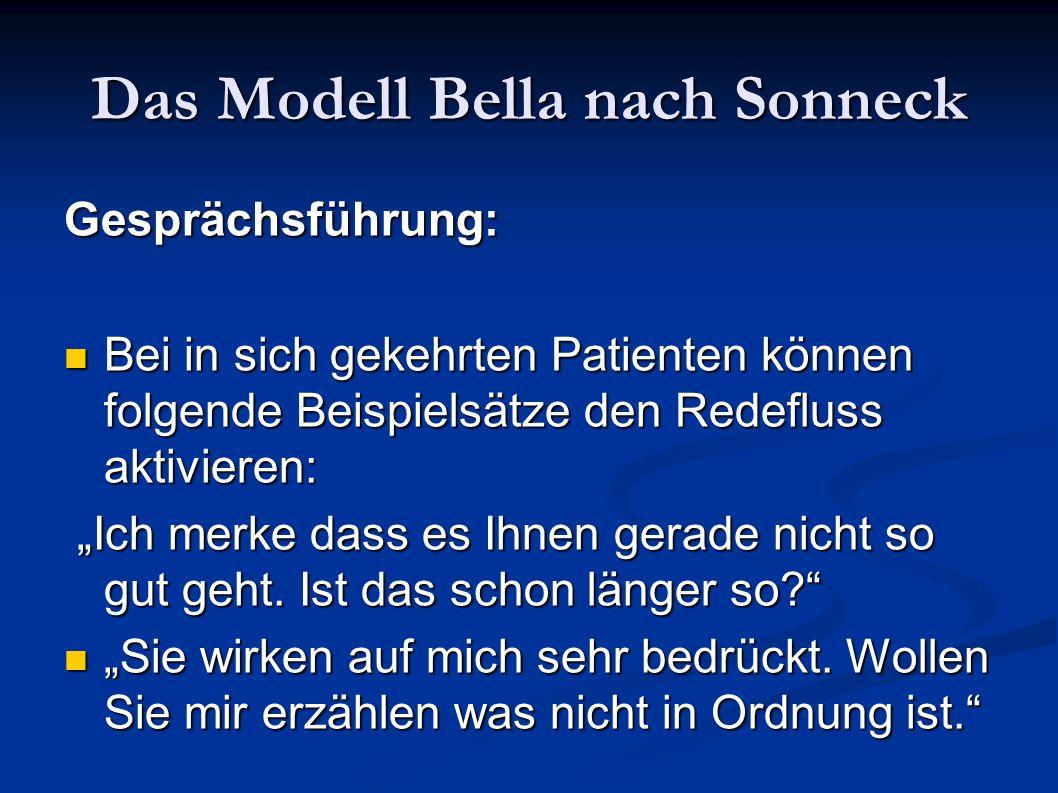 Das Modell Bella nach Sonneck Gesprächsführung: Bei in sich gekehrten Patienten können folgende Beispielsätze den Redefluss aktivieren: Bei in sich ge