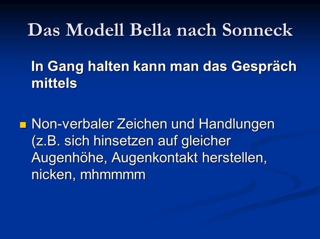 Das Modell Bella nach Sonneck In Gang halten kann man das Gespräch mittels In Gang halten kann man das Gespräch mittels Non-verbaler Zeichen und Handl