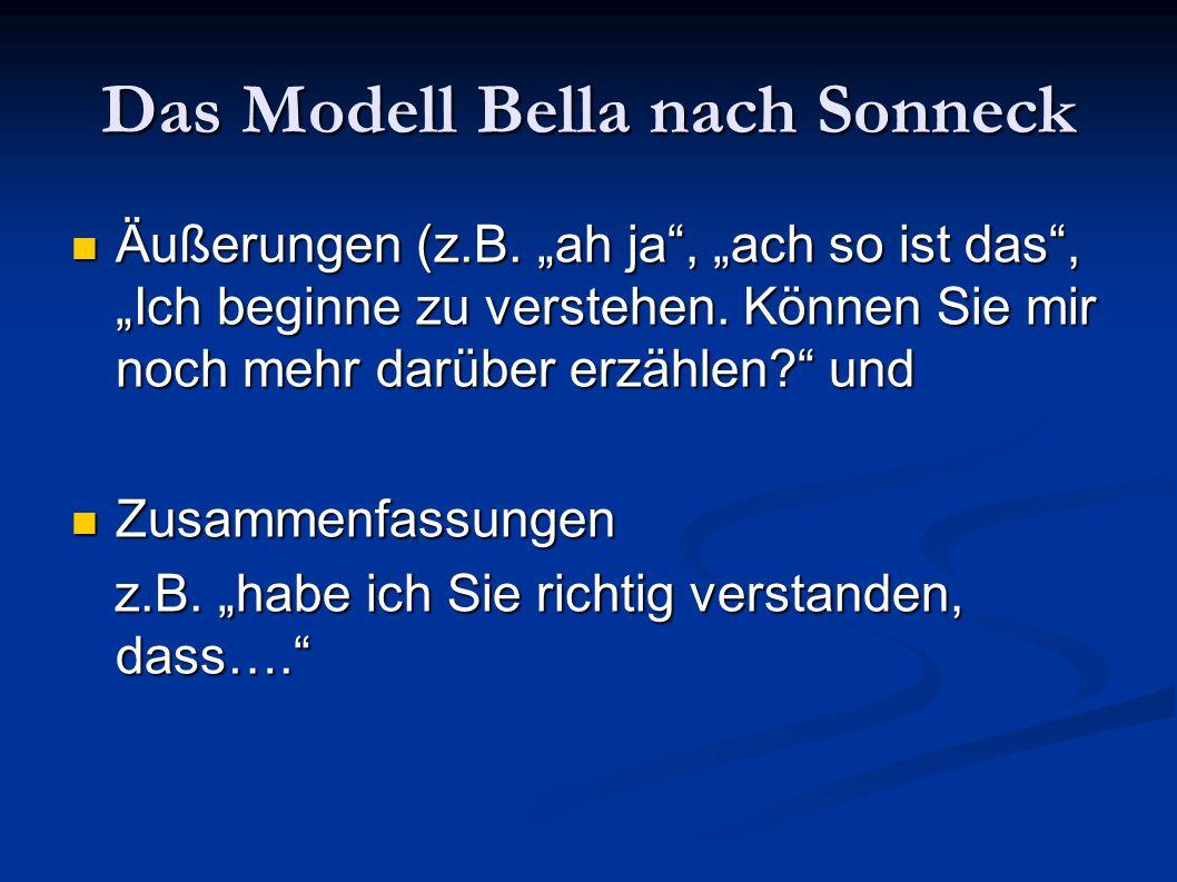 """Das Modell Bella nach Sonneck Äußerungen (z.B. """"ah ja"""", """"ach so ist das"""", """"Ich beginne zu verstehen. Können Sie mir noch mehr darüber erzählen?"""" und Ä"""