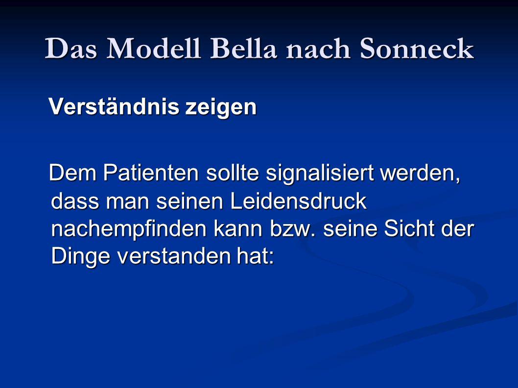 Das Modell Bella nach Sonneck Verständnis zeigen Verständnis zeigen Dem Patienten sollte signalisiert werden, dass man seinen Leidensdruck nachempfind