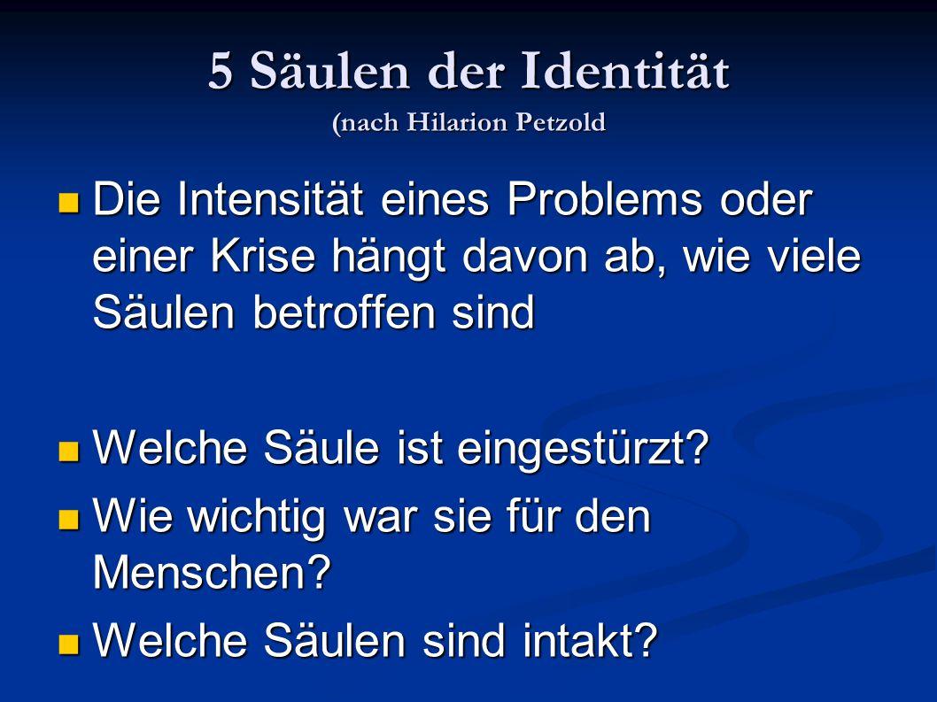 5 Säulen der Identität (nach Hilarion Petzold Die Intensität eines Problems oder einer Krise hängt davon ab, wie viele Säulen betroffen sind Die Inten