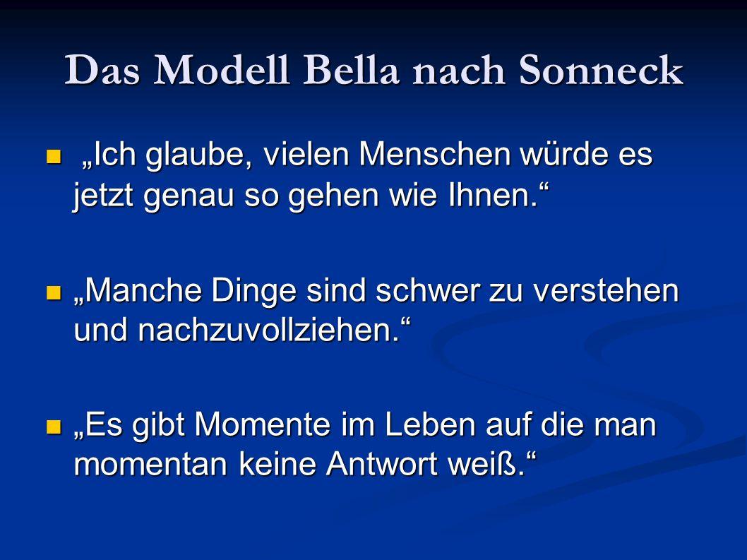 """Das Modell Bella nach Sonneck """"Ich glaube, vielen Menschen würde es jetzt genau so gehen wie Ihnen."""" """"Ich glaube, vielen Menschen würde es jetzt genau"""