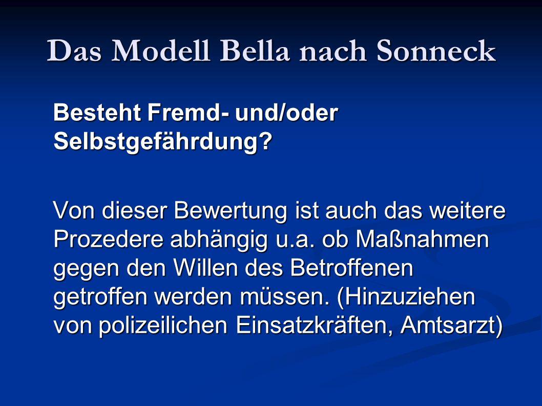 Das Modell Bella nach Sonneck Besteht Fremd- und/oder Selbstgefährdung? Besteht Fremd- und/oder Selbstgefährdung? Von dieser Bewertung ist auch das we