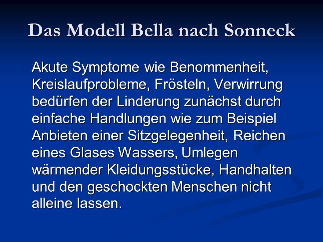 Das Modell Bella nach Sonneck Akute Symptome wie Benommenheit, Kreislaufprobleme, Frösteln, Verwirrung bedürfen der Linderung zunächst durch einfache