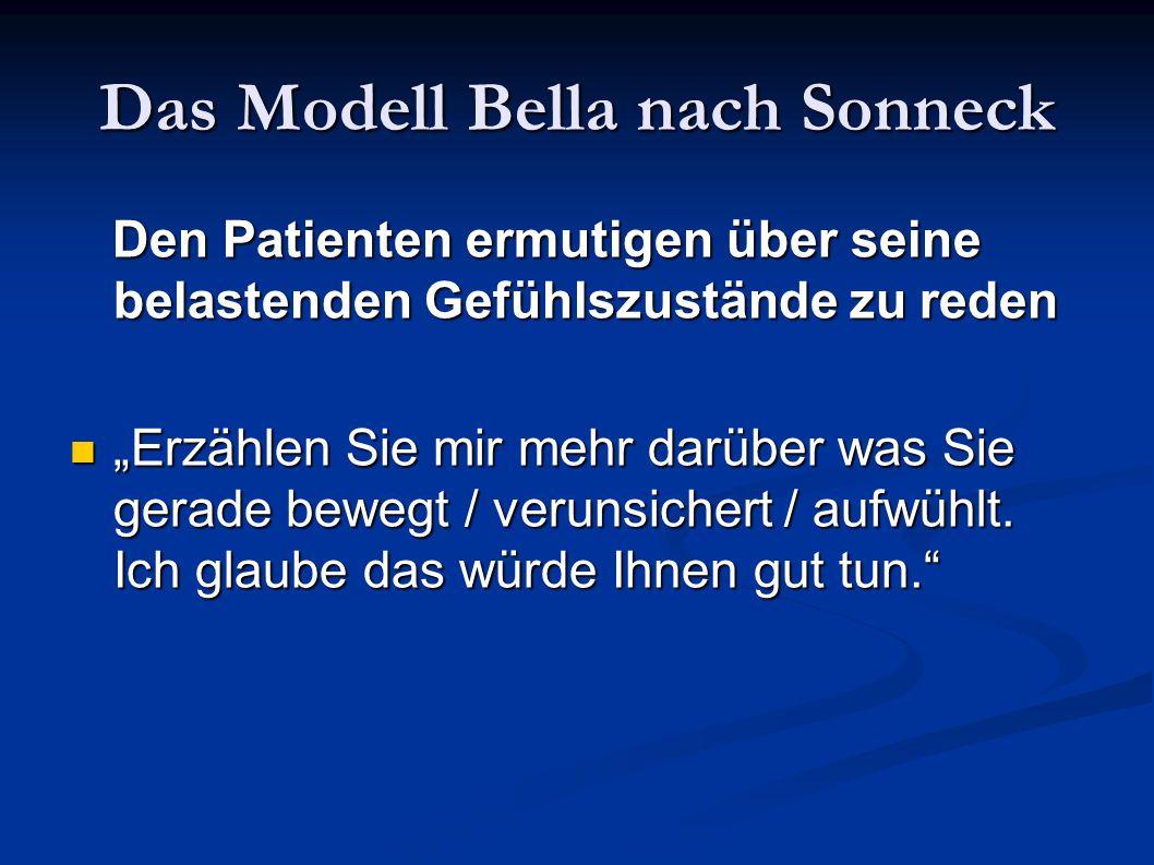 Das Modell Bella nach Sonneck Den Patienten ermutigen über seine belastenden Gefühlszustände zu reden Den Patienten ermutigen über seine belastenden G