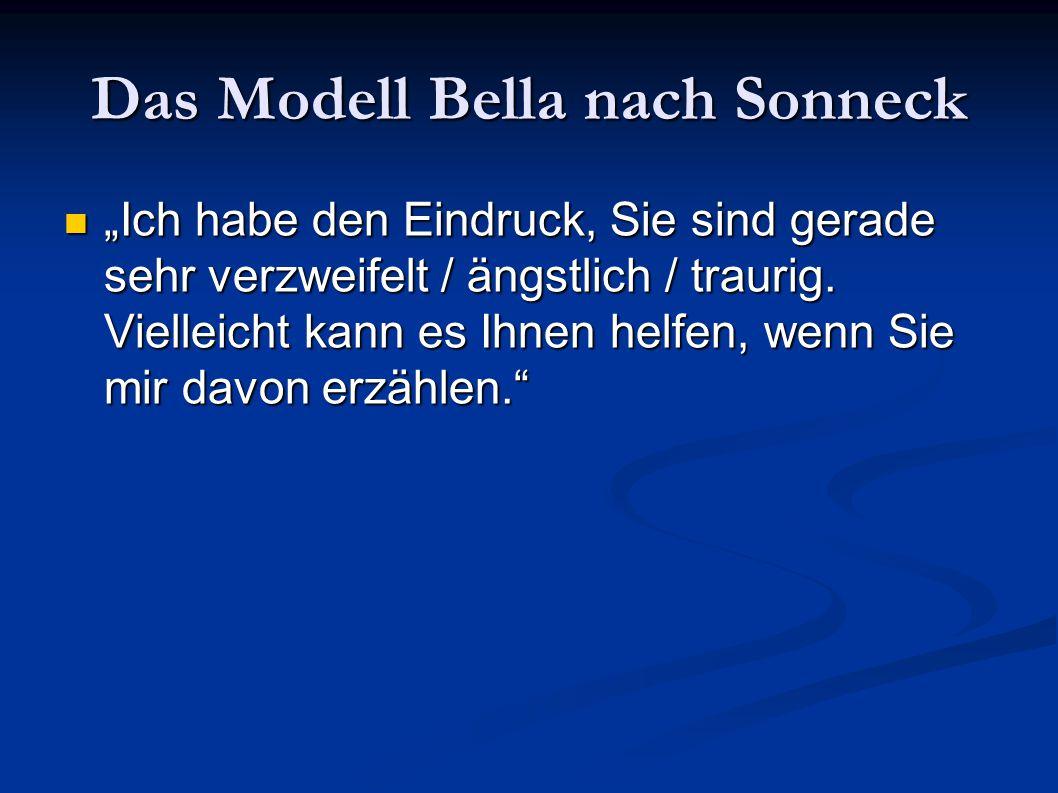 """Das Modell Bella nach Sonneck """"Ich habe den Eindruck, Sie sind gerade sehr verzweifelt / ängstlich / traurig. Vielleicht kann es Ihnen helfen, wenn Si"""