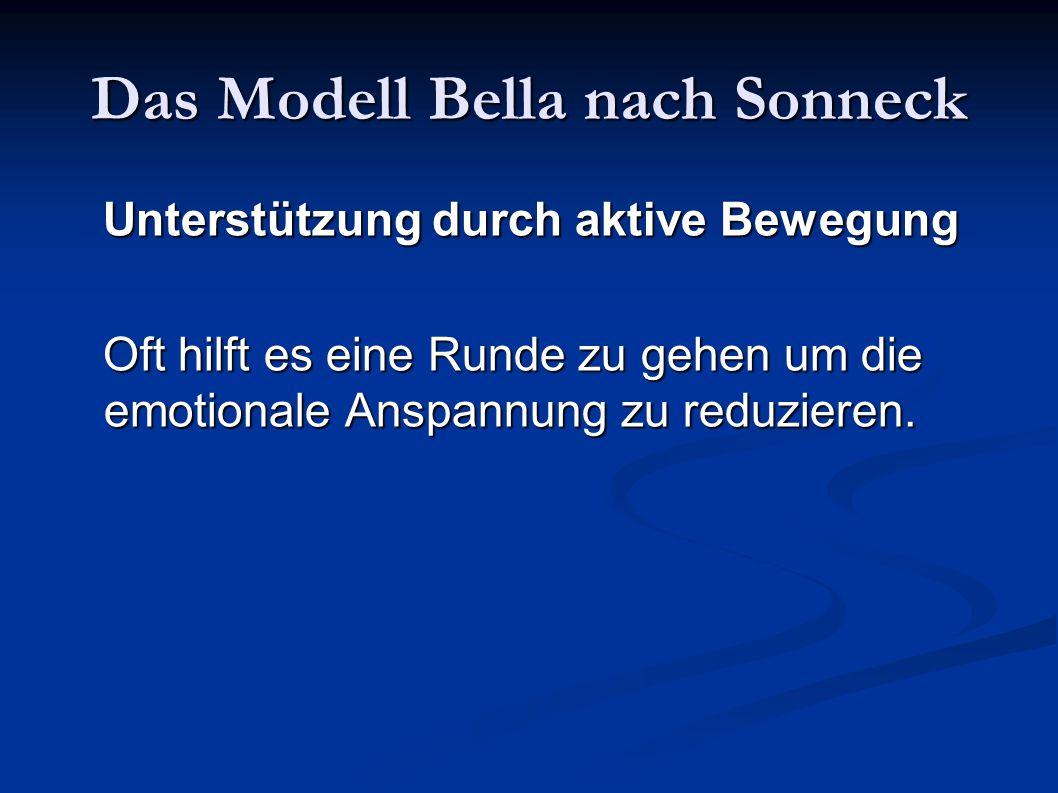 Das Modell Bella nach Sonneck Unterstützung durch aktive Bewegung Unterstützung durch aktive Bewegung Oft hilft es eine Runde zu gehen um die emotiona
