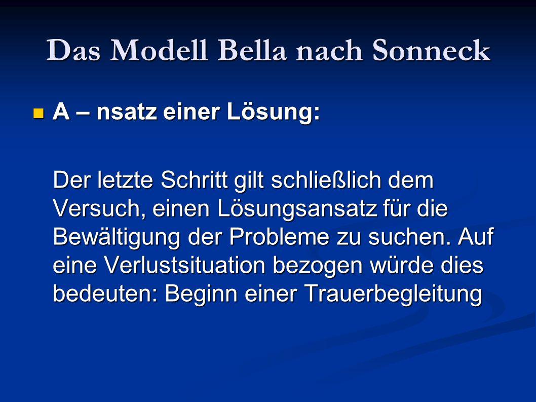 Das Modell Bella nach Sonneck A – nsatz einer Lösung: A – nsatz einer Lösung: Der letzte Schritt gilt schließlich dem Versuch, einen Lösungsansatz für