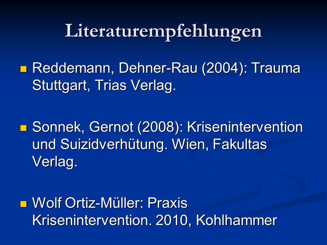 Literaturempfehlungen Reddemann, Dehner-Rau (2004): Trauma Stuttgart, Trias Verlag. Reddemann, Dehner-Rau (2004): Trauma Stuttgart, Trias Verlag. Sonn