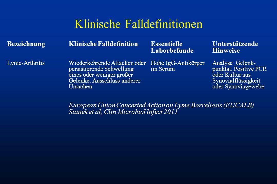 Klinische Falldefinitionen BezeichnungKlinische FalldefinitionEssentielleUnterstützende LaborbefundeHinweise Lyme-ArthritisWiederkehrende Attacken ode