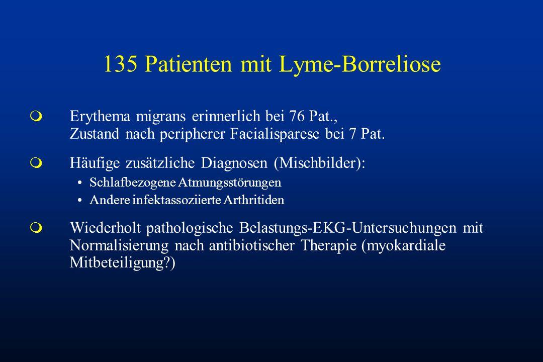 135 Patienten mit Lyme-Borreliose m Erythema migrans erinnerlich bei 76 Pat., Zustand nach peripherer Facialisparese bei 7 Pat. m Häufige zusätzliche
