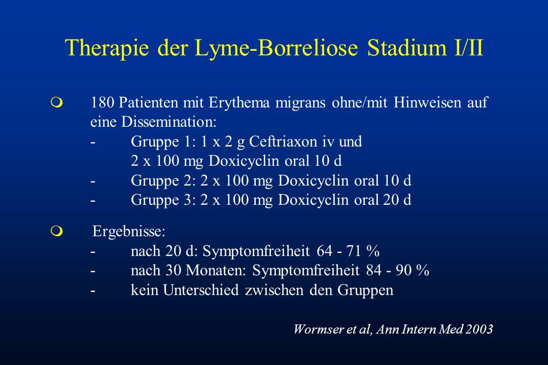 Therapie der Lyme-Borreliose Stadium I/II m 180 Patienten mit Erythema migrans ohne/mit Hinweisen auf eine Dissemination: -Gruppe 1: 1 x 2 g Ceftriaxo