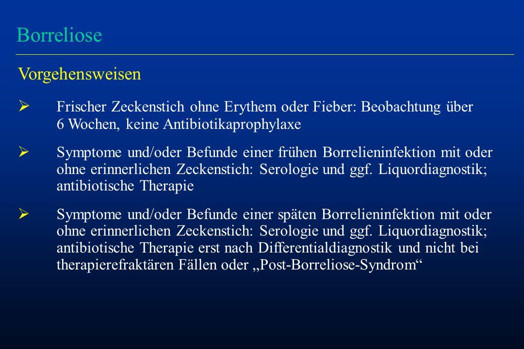 Borreliose Vorgehensweisen  Frischer Zeckenstich ohne Erythem oder Fieber: Beobachtung über 6 Wochen, keine Antibiotikaprophylaxe  Symptome und/oder Befunde einer frühen Borrelieninfektion mit oder ohne erinnerlichen Zeckenstich: Serologie und ggf.