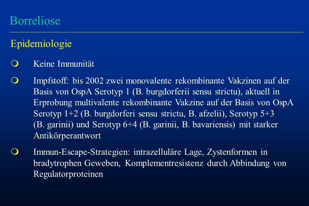 Therapie der Lyme-Borreliose Stadium I/II m 180 Patienten mit Erythema migrans ohne/mit Hinweisen auf eine Dissemination: -Gruppe 1: 1 x 2 g Ceftriaxon iv und 2 x 100 mg Doxicyclin oral 10 d -Gruppe 2: 2 x 100 mg Doxicyclin oral 10 d -Gruppe 3: 2 x 100 mg Doxicyclin oral 20 d m Ergebnisse: -nach 20 d: Symptomfreiheit 64 - 71 % -nach 30 Monaten: Symptomfreiheit 84 - 90 % -kein Unterschied zwischen den Gruppen Wormser et al, Ann Intern Med 2003