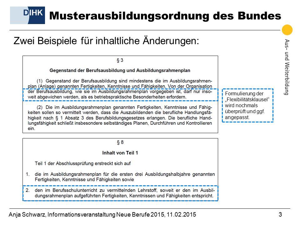 """Anja Schwarz, Informationsveranstaltung Neue Berufe 2015, 11.02.20153 Zwei Beispiele für inhaltliche Änderungen: Formulierung der """"Flexibilitätsklausel wird nochmals überprüft und ggf."""