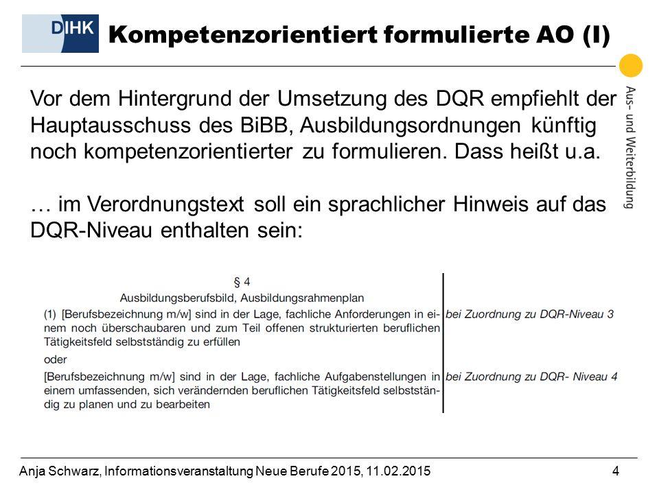 Anja Schwarz, Informationsveranstaltung Neue Berufe 2015, 11.02.20154 Vor dem Hintergrund der Umsetzung des DQR empfiehlt der Hauptausschuss des BiBB, Ausbildungsordnungen künftig noch kompetenzorientierter zu formulieren.