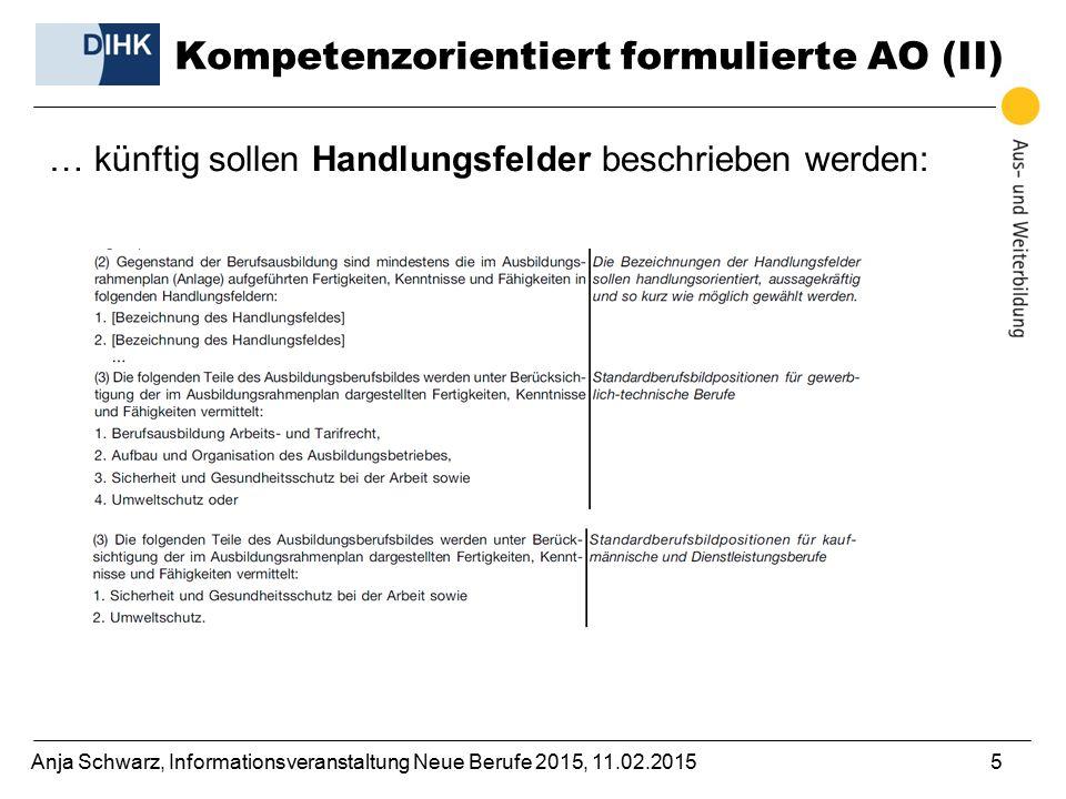 Anja Schwarz, Informationsveranstaltung Neue Berufe 2015, 11.02.20155 … künftig sollen Handlungsfelder beschrieben werden: Kompetenzorientiert formulierte AO (II)