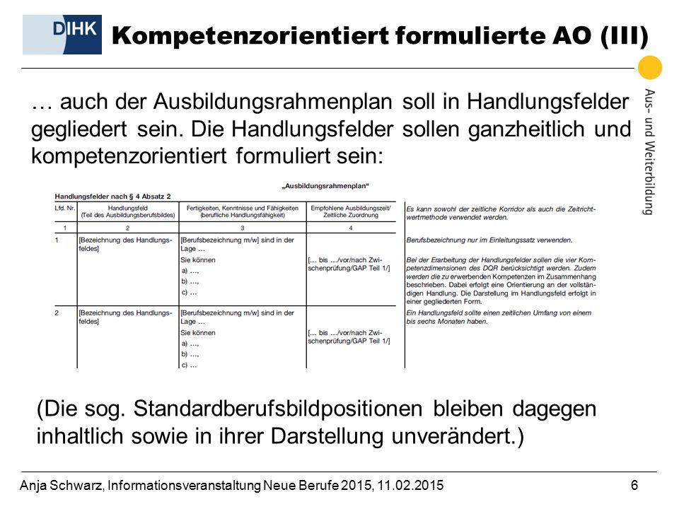 Anja Schwarz, Informationsveranstaltung Neue Berufe 2015, 11.02.20156 … auch der Ausbildungsrahmenplan soll in Handlungsfelder gegliedert sein. Die Ha