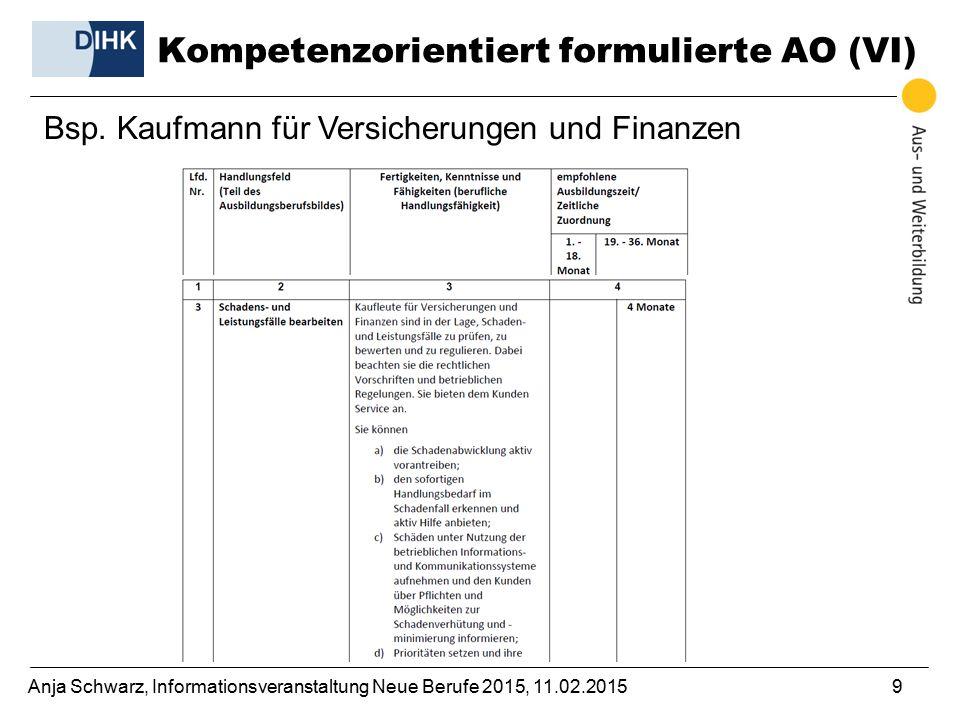 Anja Schwarz, Informationsveranstaltung Neue Berufe 2015, 11.02.20159 Bsp. Kaufmann für Versicherungen und Finanzen Kompetenzorientiert formulierte AO