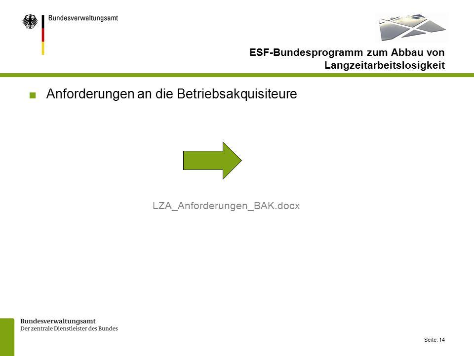Seite: 14 ■Anforderungen an die Betriebsakquisiteure LZA_Anforderungen_BAK.docx ESF-Bundesprogramm zum Abbau von Langzeitarbeitslosigkeit