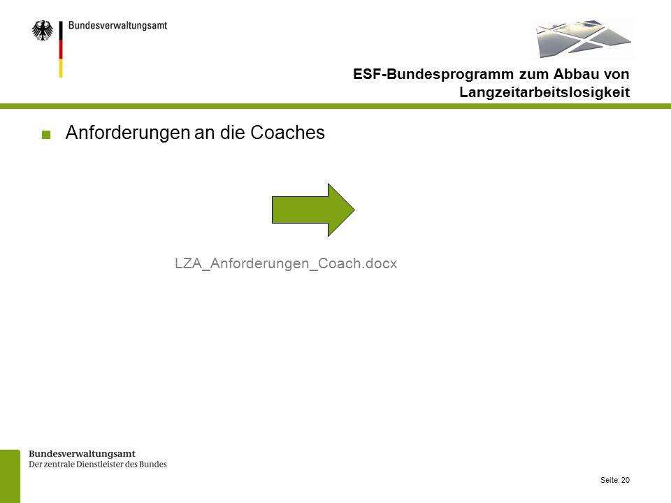 Seite: 20 ■Anforderungen an die Coaches LZA_Anforderungen_Coach.docx ESF-Bundesprogramm zum Abbau von Langzeitarbeitslosigkeit