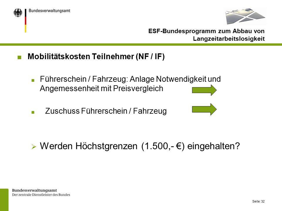 Seite: 32 ■Mobilitätskosten Teilnehmer (NF / IF) ■ Führerschein / Fahrzeug: Anlage Notwendigkeit und Angemessenheit mit Preisvergleich ■ Zuschuss Führerschein / Fahrzeug  Werden Höchstgrenzen (1.500,- €) eingehalten.
